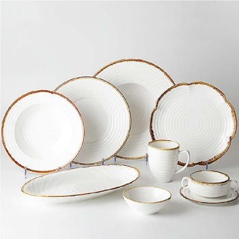 Wholesale Dinner Plates Ceramic Tableware Plate Sets With Brown Rim, Catering Porcelain Plate Set Dinnerware White