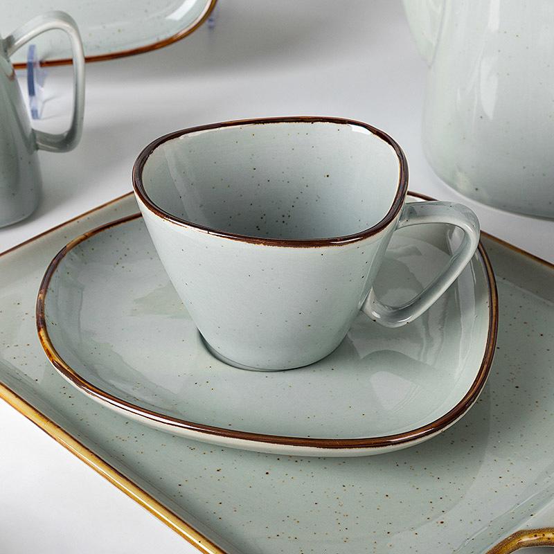 Catering Dinnerware Rustic Grey Ceramics Plate Restaurant Crockery Dinner Dinnerware Set, Wholesale Horeca Tableware Dinner Sets