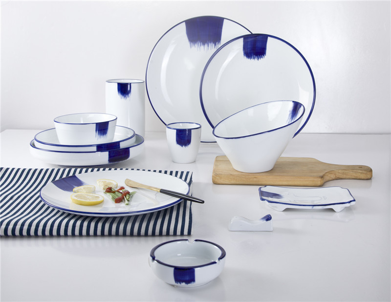 fashion color on-glazed dinner set for home restaurant hotel