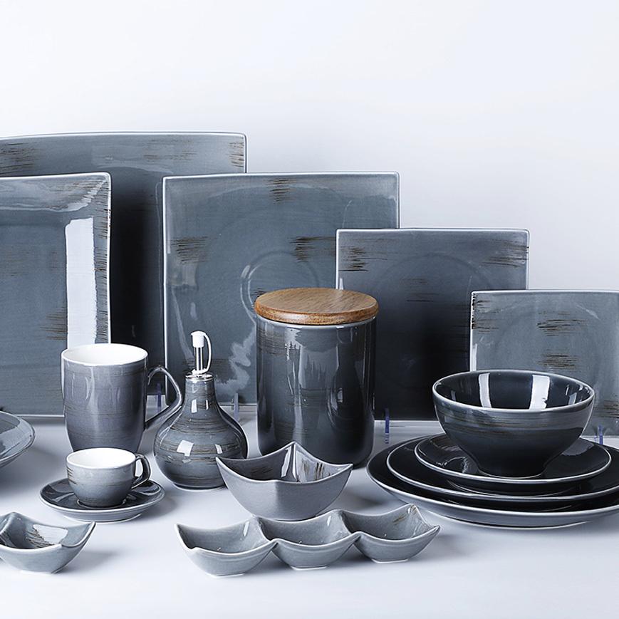 Blue Restaurant Dinnerware Set Luxury Porcelain Plates, Saudi Arabia Market Dinner Set, Korean Ceramic Dinnerware Sets*