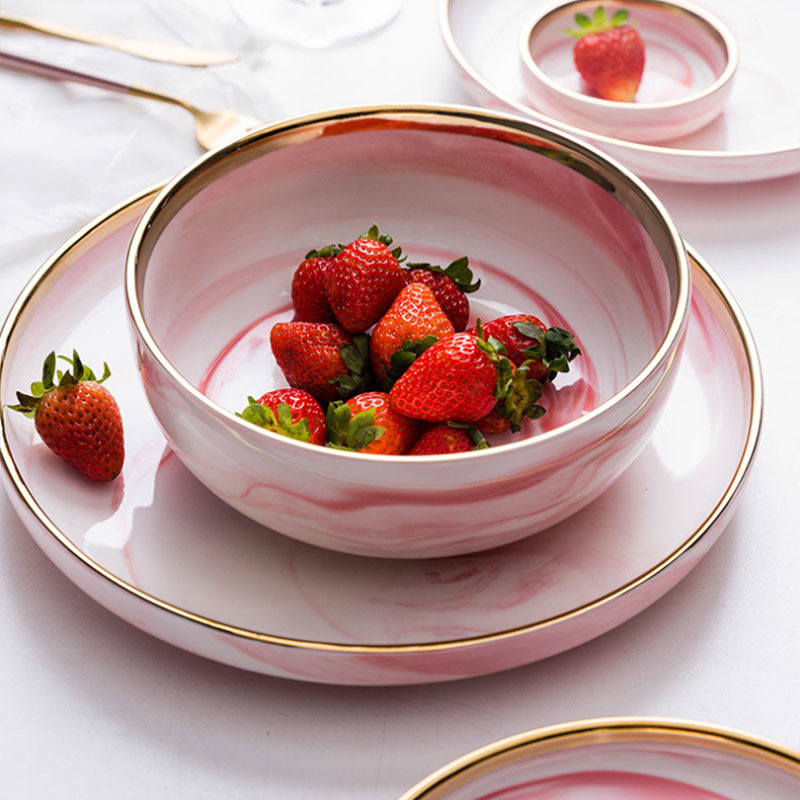 Ceramic Dinner Plates India Hotel Tableware Supplied Gold Dinner Set Marble, Popular Crockery Tableware Gold Pink Marble Plate@