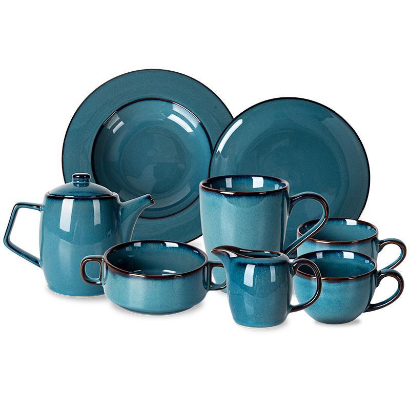 Hot Sale Ceramic Dinner Set Plate Restaurant Blue Porcelain Wholesale Tableware