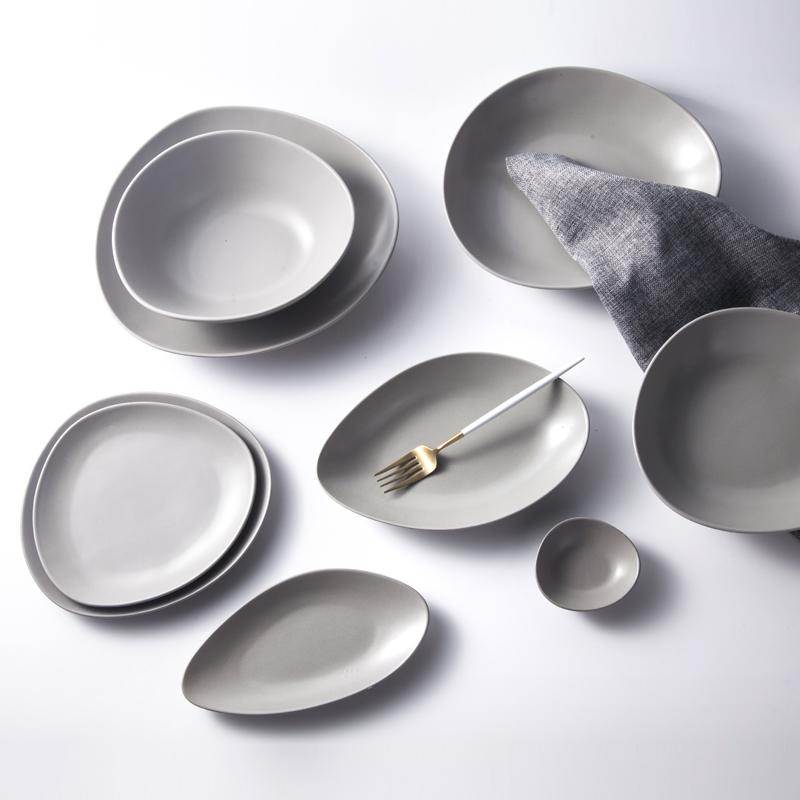 Matt gray specialty restaurant use crockery tableware dinnerware sets