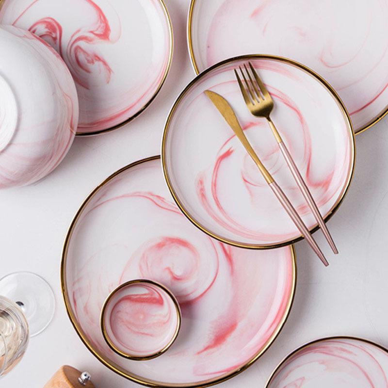 Latest Dinner Set With Popular Design Porcelain Marble Pattern Ceramic Dessert, Best Selling Party Plate Pink Luxury Dinner Set/