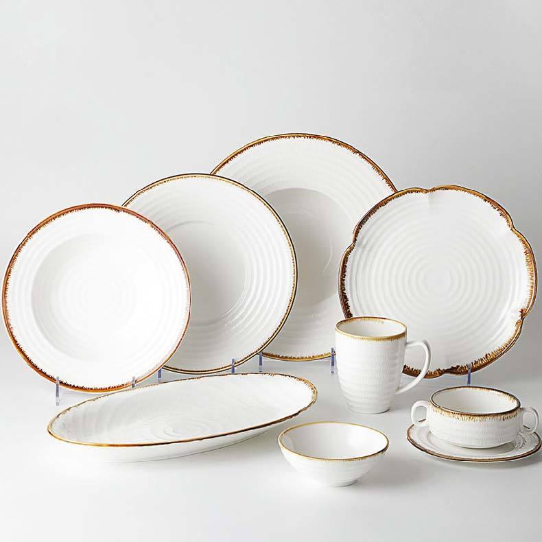 Color Rim Brand Ware Dinnerware Set, Rustic Dinner Sets Wholesale, Brown Rim Ceramic Dinner Set Dinnerware&