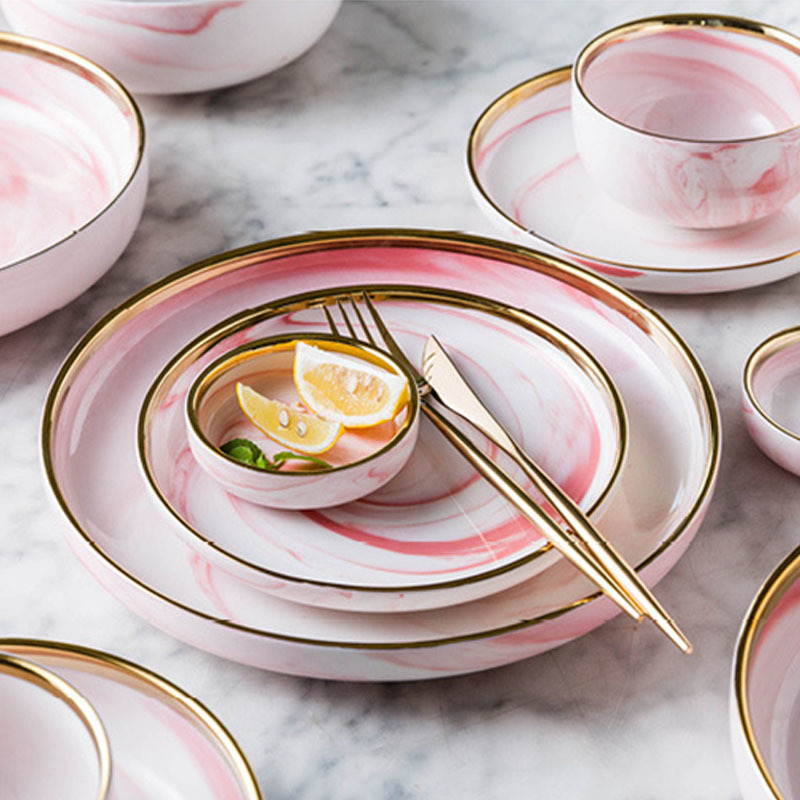 Latest Dinner Set With Popular Design Catering Supplies Gold Dish Marble, Crockery Tableware Gold Luxury Marble>