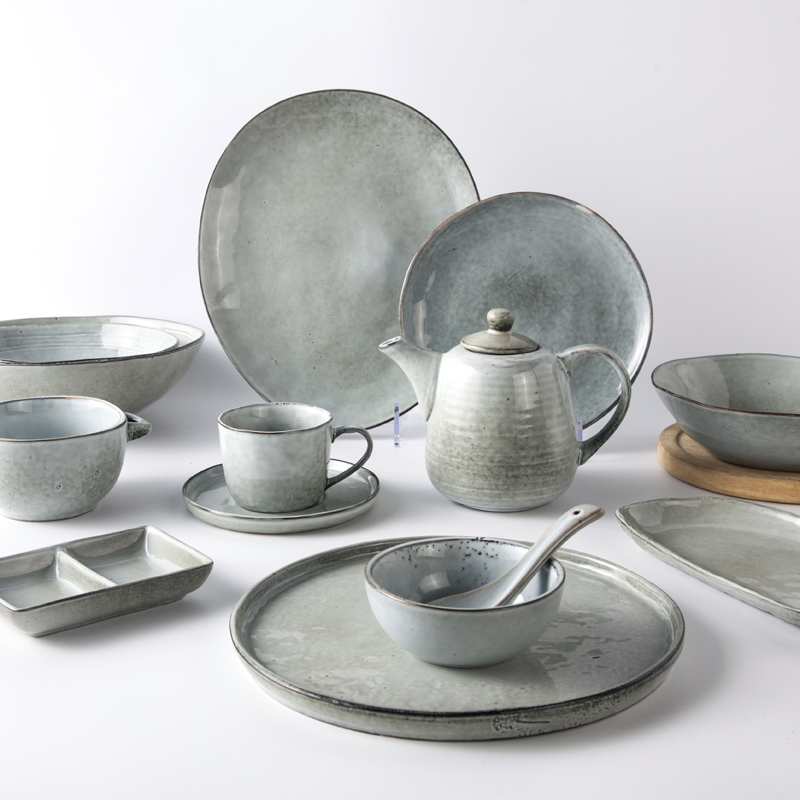 Catering Banquet Restaurant Ceramic Dinnerware, Rustic Green Stoneware Catering Tableware