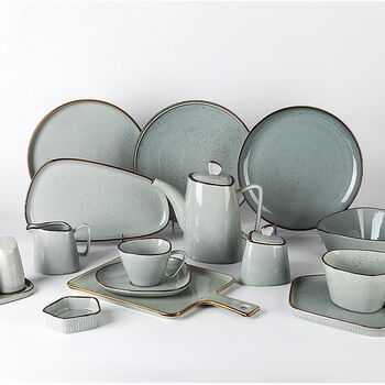 Most Popular Shallow Color Dinnerware Sets, European Luxury Plates Porcelain Dinner Dishes Sets
