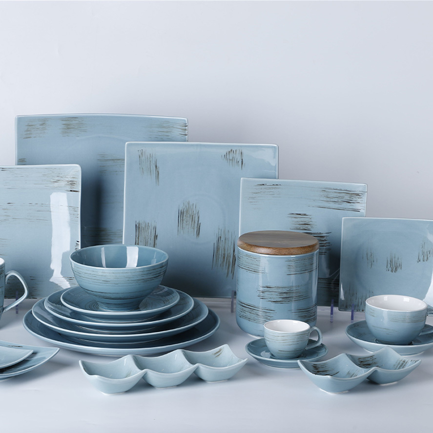 Special Event Crokery Dinnerware Set Blue, Ceramic Tableware For Wedding, Restaurant Catering Dinner Set Porcelain^