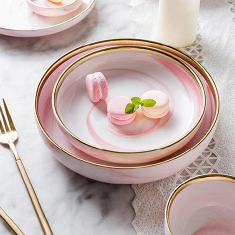 New 2019 Popular Trending Product Pink Restaurant Tunisia Ceramic Bone China Tableware, Marble Stoneware Tableware From China>