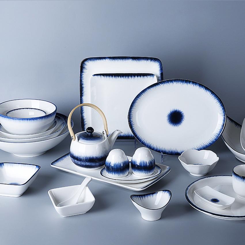Blue Glazed Hotel Ceramic Tableware Unbreakable Dinner Set, Nordic Banquet Hall Rustic Dinner Set Ceramic Tableware^
