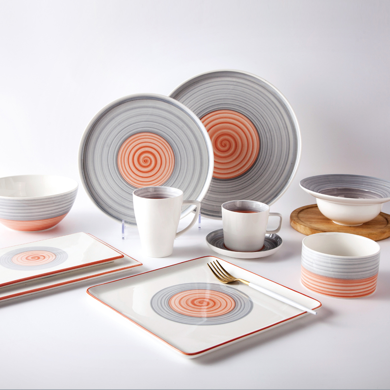 popular warm sweet round rainbow dinner set restaurant fina china crockery dinnerware sets