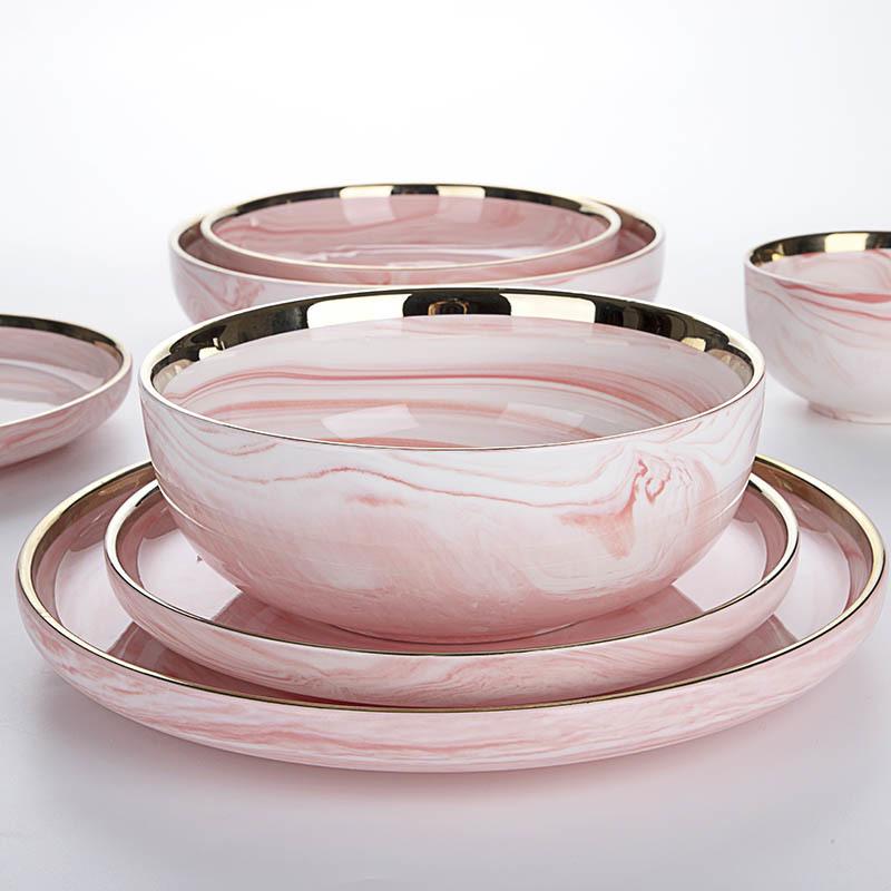 Best Selling Idea Latest Horeca Dinner Set Gold With Popular Design Marble Dish Pink Restaurant Dinner Set Porcelain@