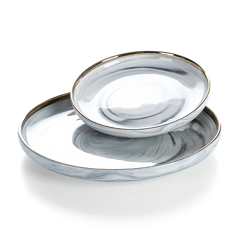 Resort 8/10 Inch Dinner Set Porcelain Elegant Marble Porcelain Dinner Set Dinnerware/
