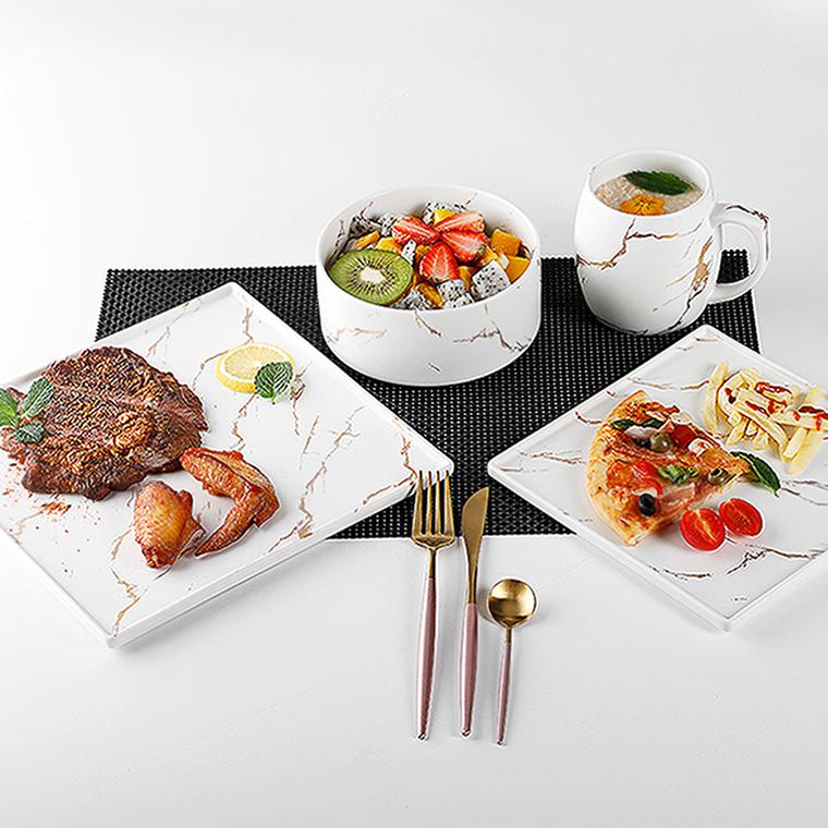 Catering Supplies Restaurant Banquet Wedding Square Event Crockery, Marble Dinner Set Wedding, Marble Gold Dinner Set Wedding^