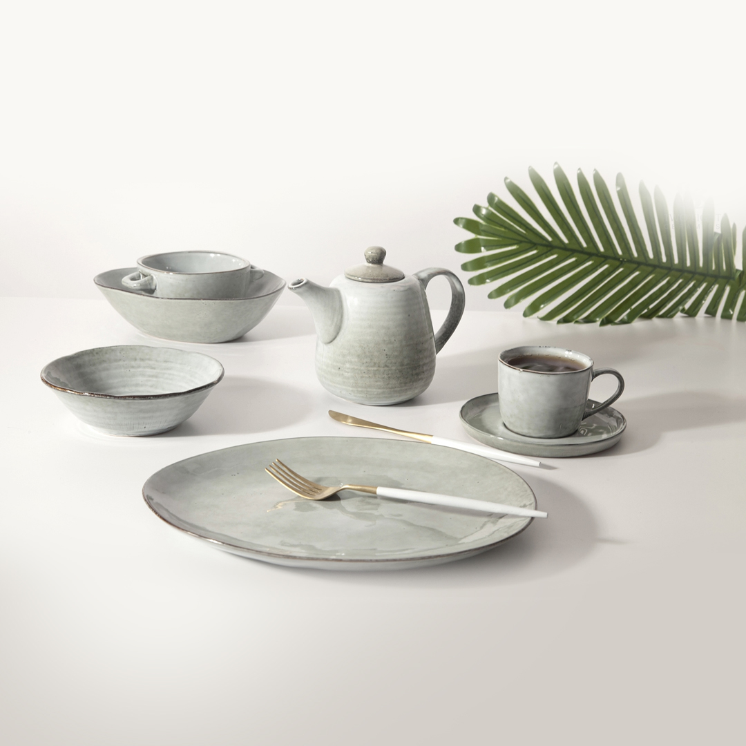 High Quality Restaurant Supplies Color Tableware Set Hotel, Green Stoneware Crockery