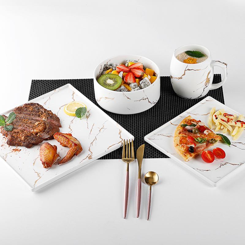 Gold Banquet Dinner Set Restaurant Dinnerware Sets, Hot Sale Banquet Dinner Set Porcelain Marble Dinnerware>