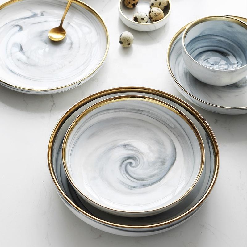 Gray Gold Rim Ceramic Dinnerware, Restaurant Dishes for Sale, Luxury Porcelain Marble Dinnerware Set