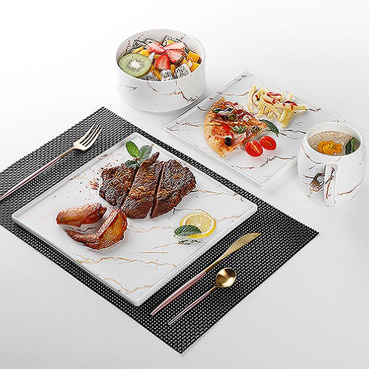 High Quality Hotel Ceramic European Dinnerware Sets, Gold And White Restaurant Dinnerware Fine Dinner Plate Set/