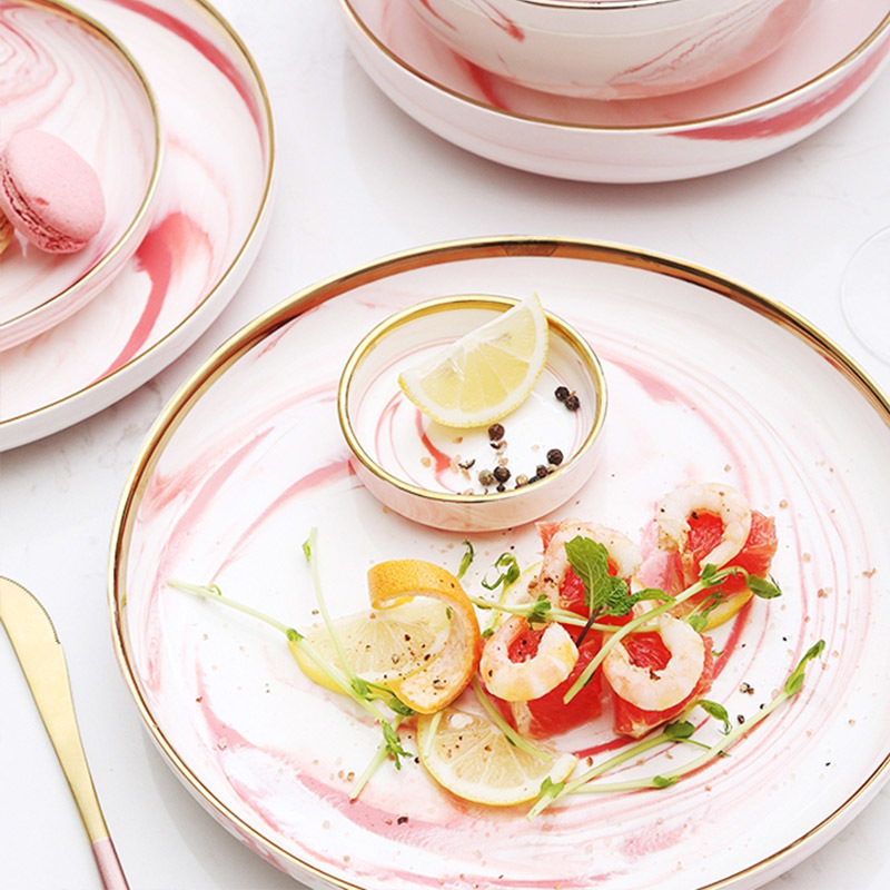 New 2019 Trending Product Pink Restaurant Pink Porcelain Dinner Set, Porcelain gold dinner set@