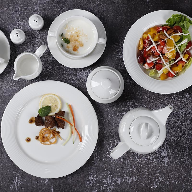 Dinnerware Sets Ceramic, Hotel Luxury Dinner Set Dinnerware, Catering Event Ceramic Tableware White>
