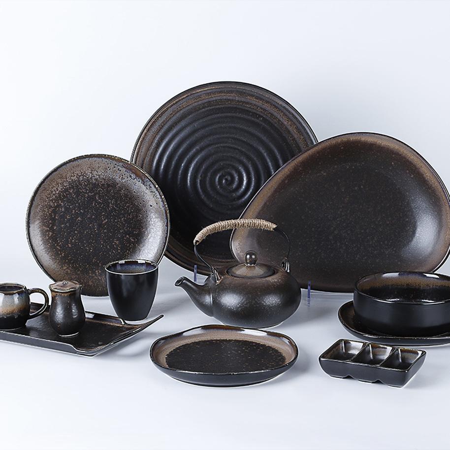 Ceramic China Dinnerware Set, Special Tableware Set Black,Japanese Ceramic Tableware Set*