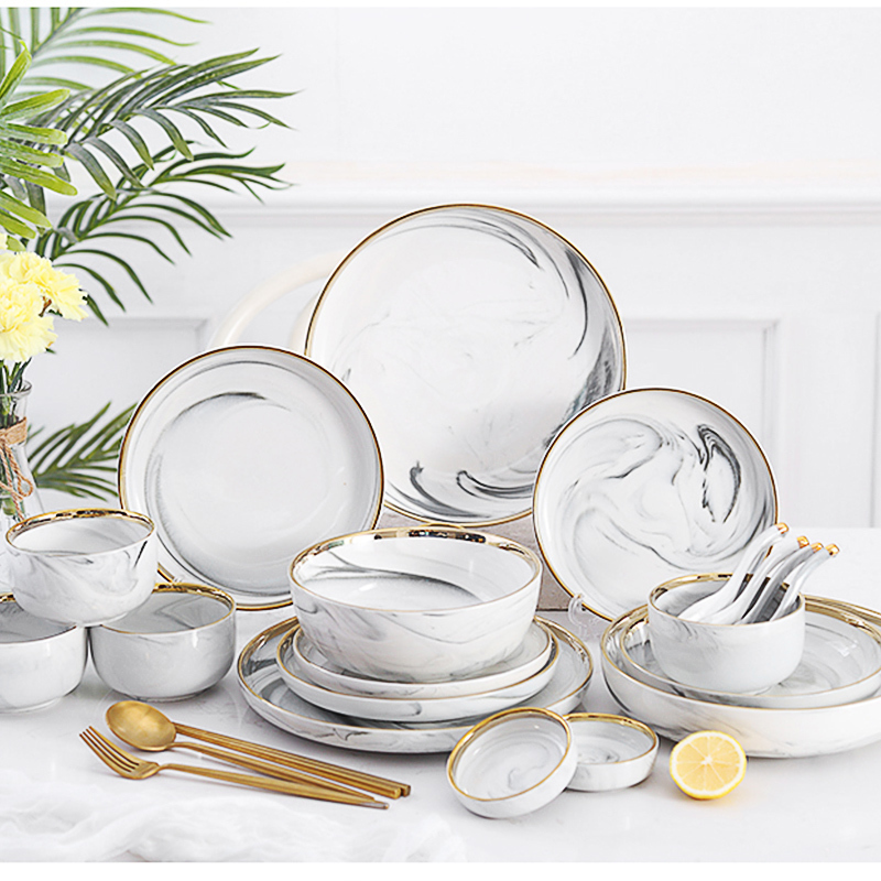 Resort 8/10 Inch Dinner Set Porcelain Elegant Marble Porcelain Dinner Set Dinnerware/