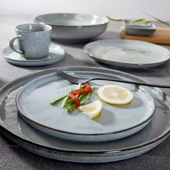 High Quality Heat Resistant Hotel Tableware Set, Catering Dinnerware Sets Porcelain, Green Modern Dinnerware Set
