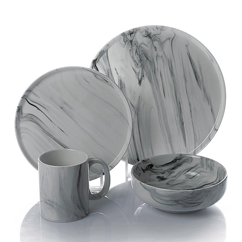 Hot Sale Restaurant Hotel Italian Style Marble Dinnerware Set, Amazon Top Sale Ceramic Dinner Set