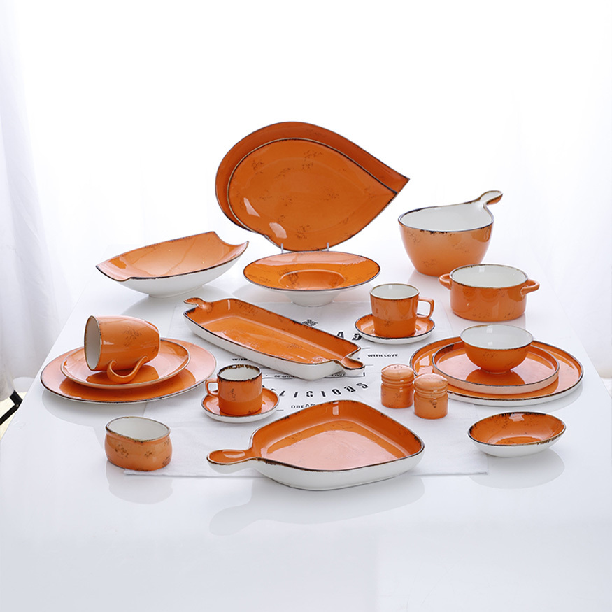Factory Supply 3 Colors Restaurant Dinnerware sets, Wholesale Porcelain Ceramic Tableware diner sets