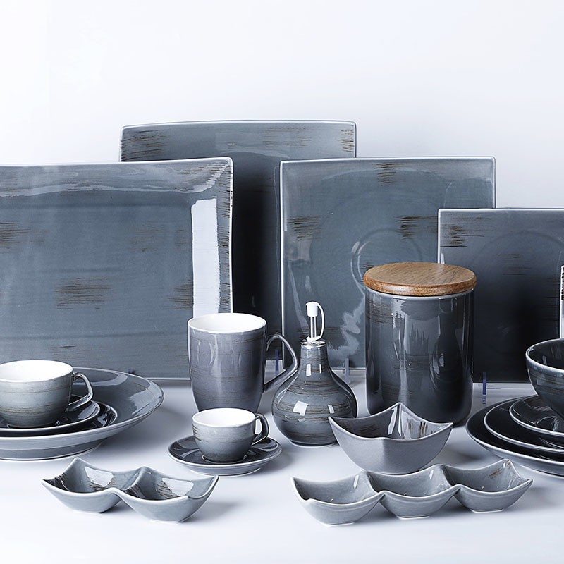 Color Glazed Modern Restaurant Plates, Rustic Tableware, Porcelain Plate Water Blue Color ^