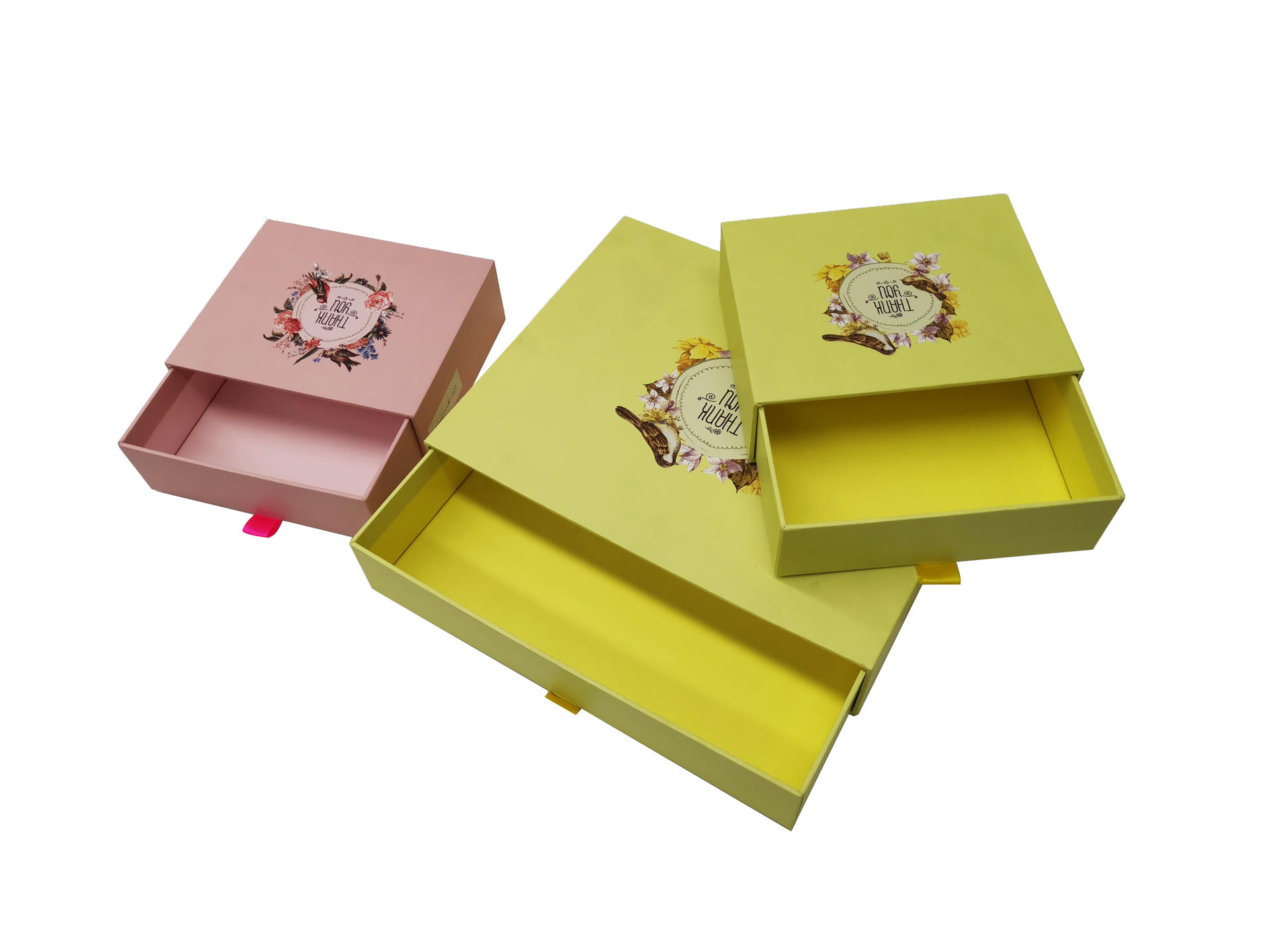 Yellow Gift Box Cardboard Drawer Packaging Box With Custom Logo