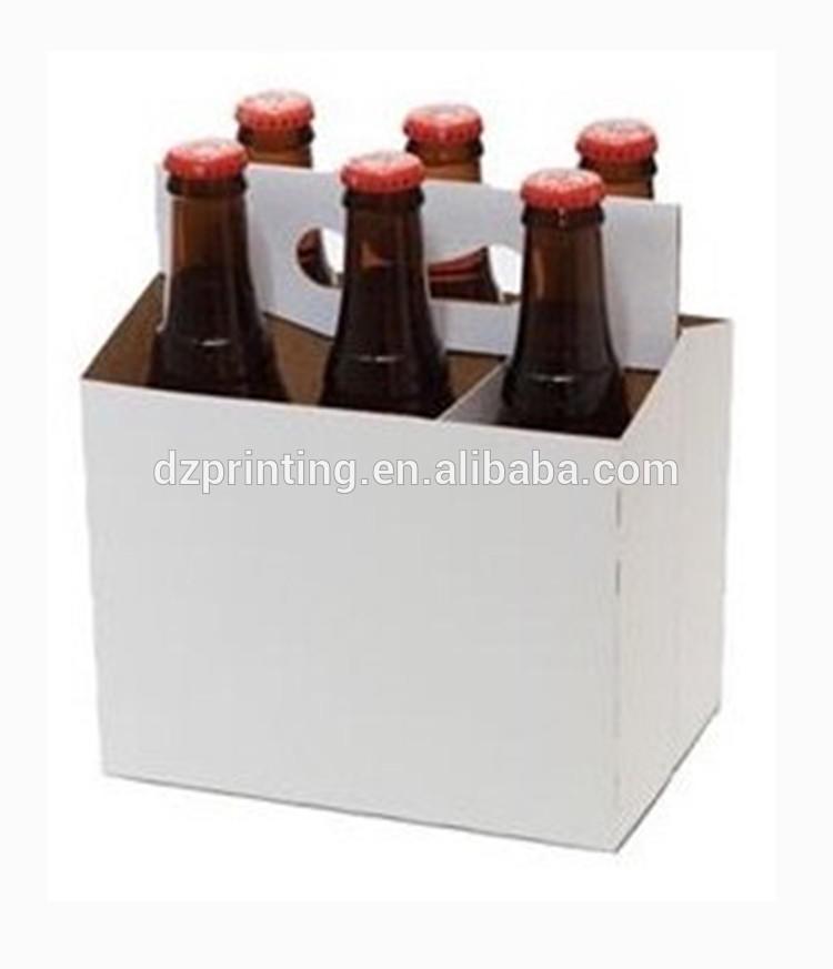 Custom Printed Logo Paper Cardboard 6 Pack Bottle Beer Wine Box Carrier For Promotion
