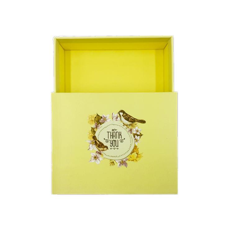 Yellow Gift Box Cardboard Drawer Packaging Box With Custom Logo