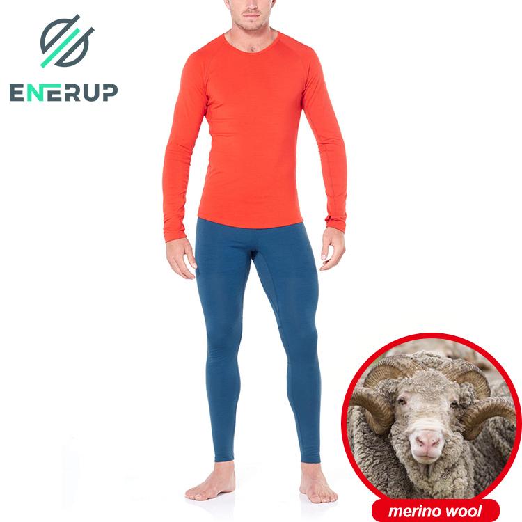 Enerup 2 piece onsie merino wool blouse long sleeve unique blusas manga larga johns top thermal underwear sets