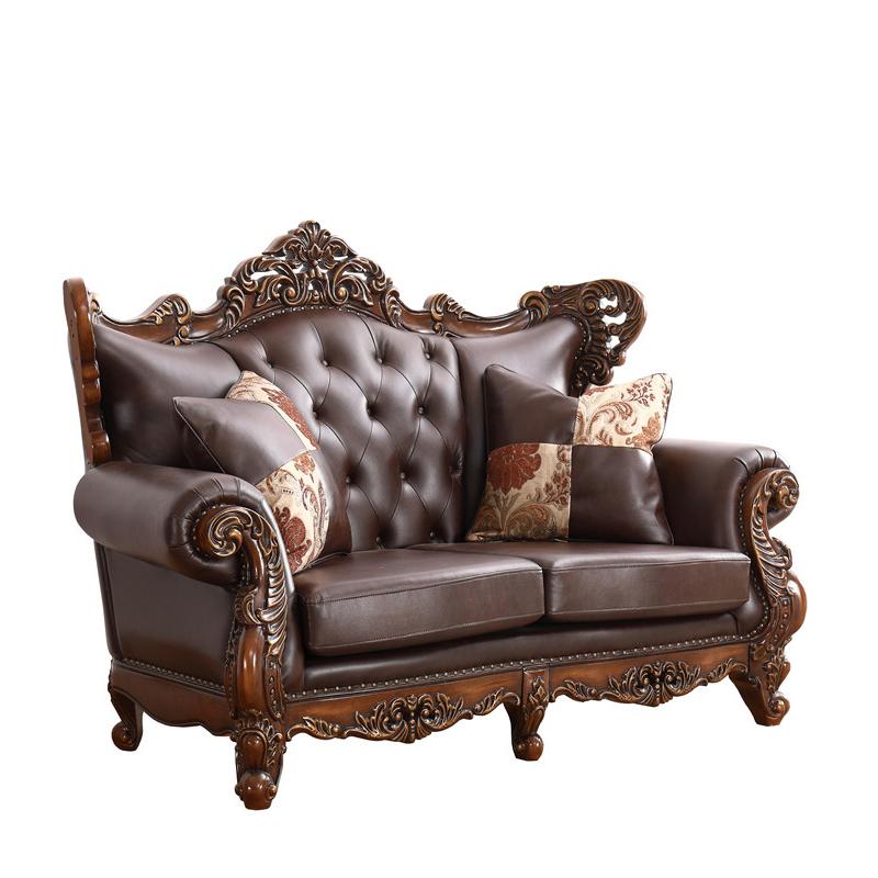 Living RoomSofaRoyal Sofa SetAntique Wood Style leather sofa- SF1889