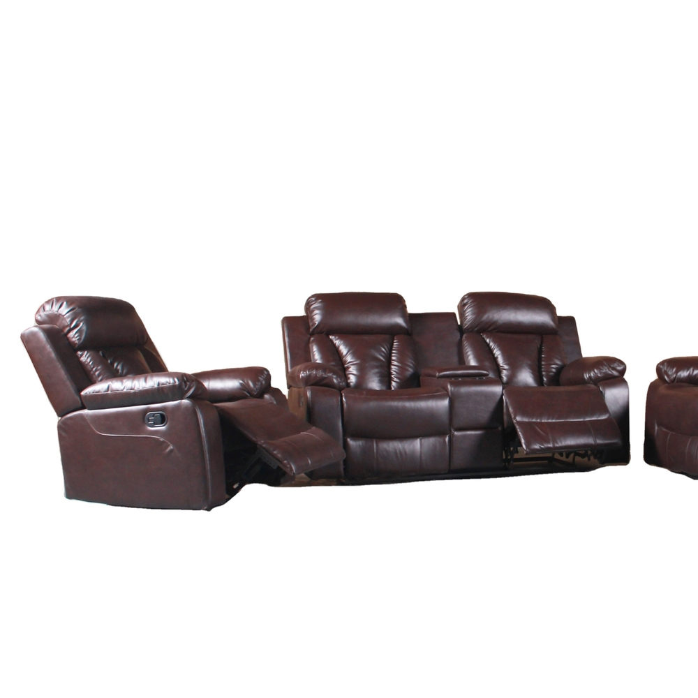 Living room furniture recliner sofasbrown air leather with console