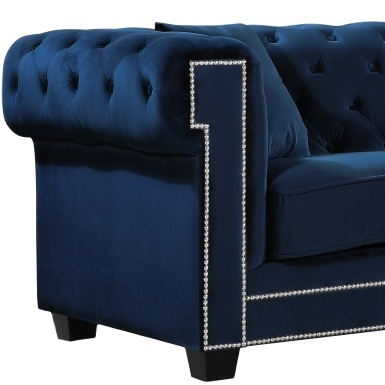 2021 Living room sofas classic rolled arms and turned blue linen fabric couch