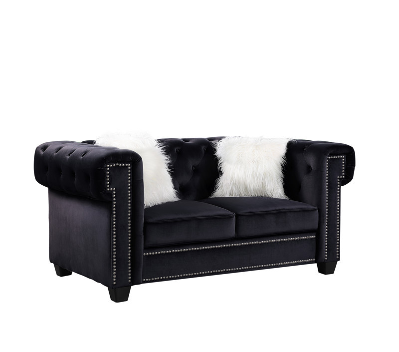 Europe modern chesterfield black velvet fabric sofa 2seat