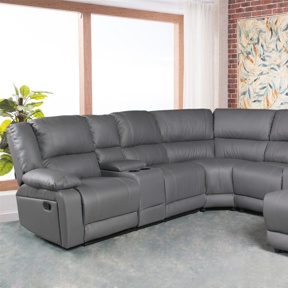 Living room furniture grey air leather recliner sectional sofa couch with chaise