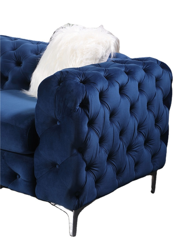 New Chesterfield 2 Seater Sofa Settee Couch Antique blue velvet fabric