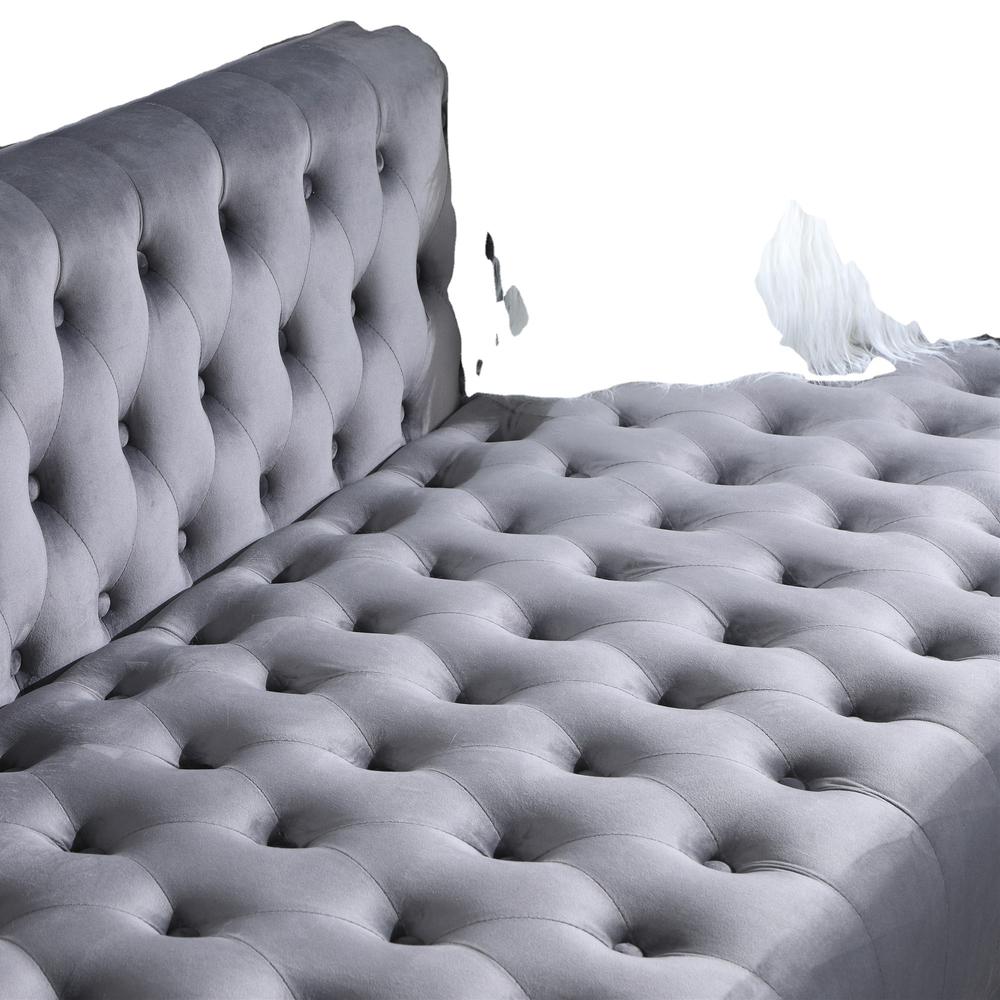 2021 Furniture Classic Modern Scroll Arm grey Velvet Chesterfield Love Seat Sofa