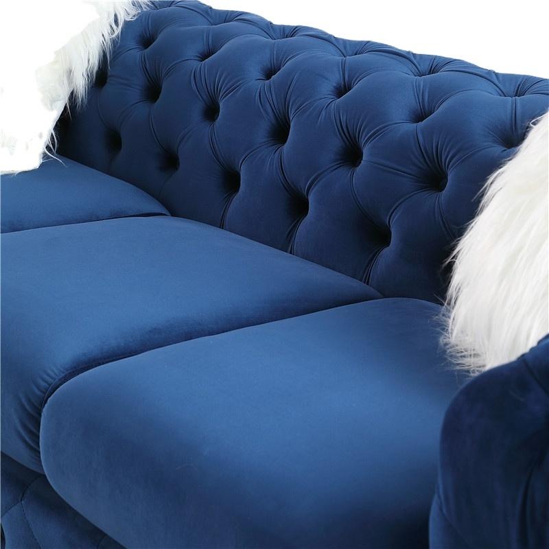 Newest Chesterfield fabric blue Club Sofa