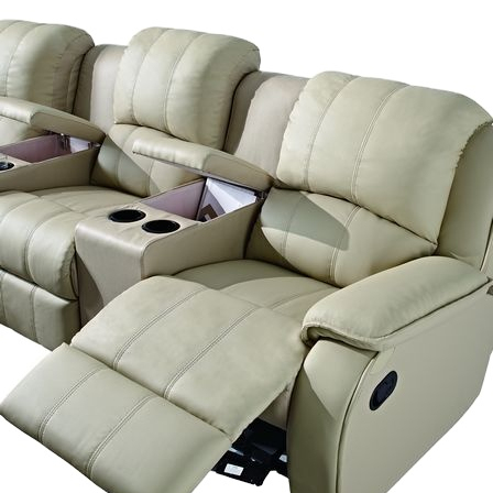 Living room sofas 3-Seat beige Leather Home Theater Recliner with Storage Consoles