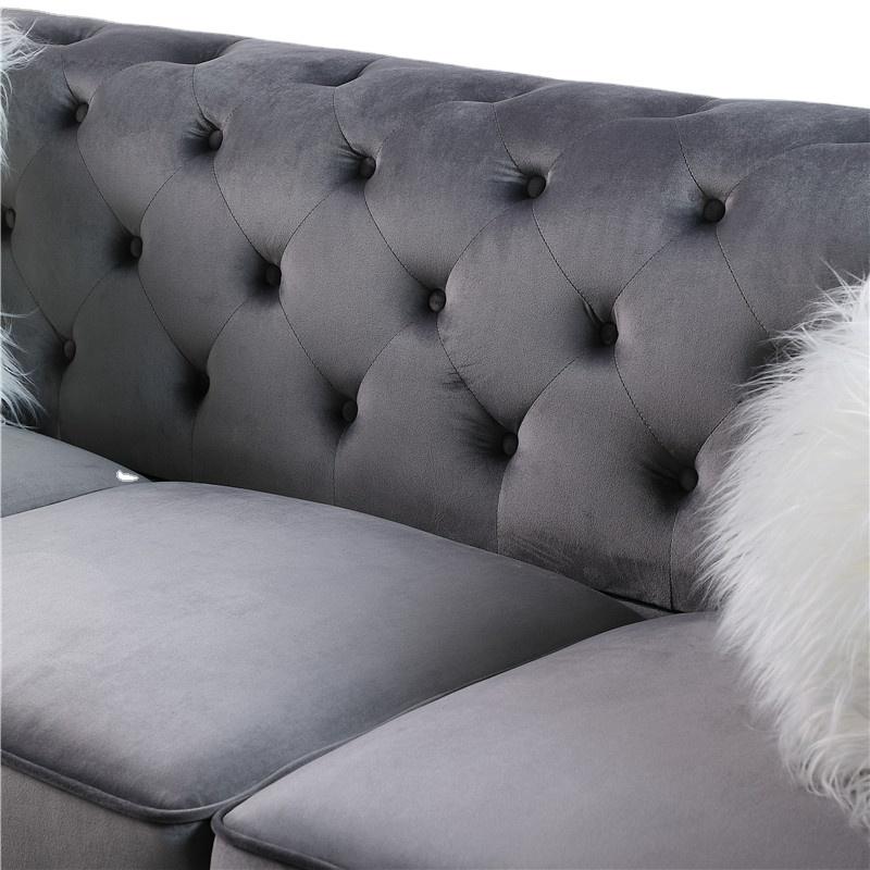 Newest Living room sofas luxurygrey velvet fabric sofa sets