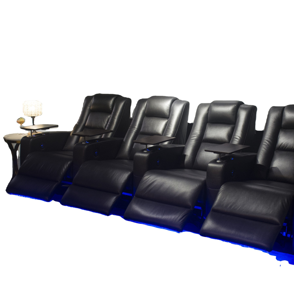 Media room Movie theater seats with USB charges and cup holder LED