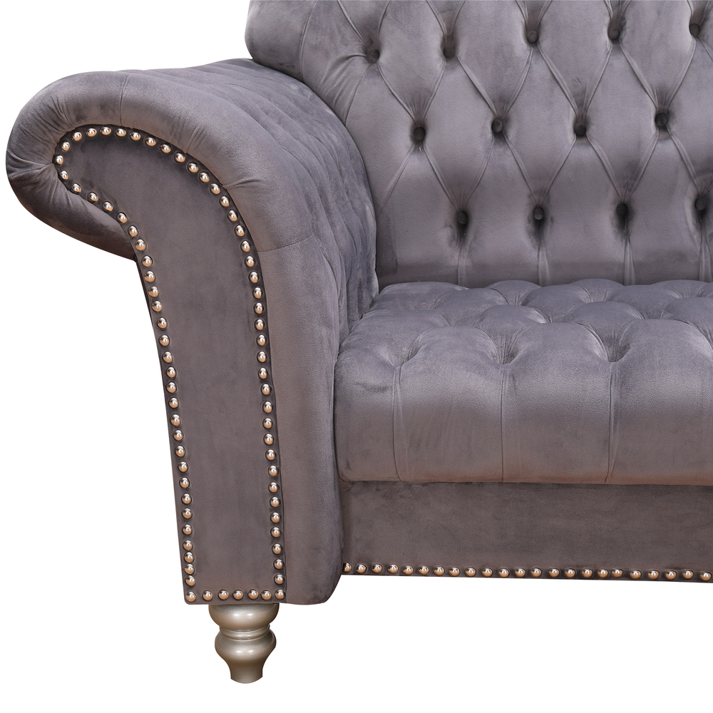 2021 Living room sofas classic elegance chesterfield velvet fabric couch 3 seat