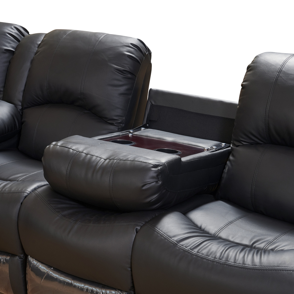 2021 6 PIECEMOTION Corner recliner sofa with drop down tableblack leather