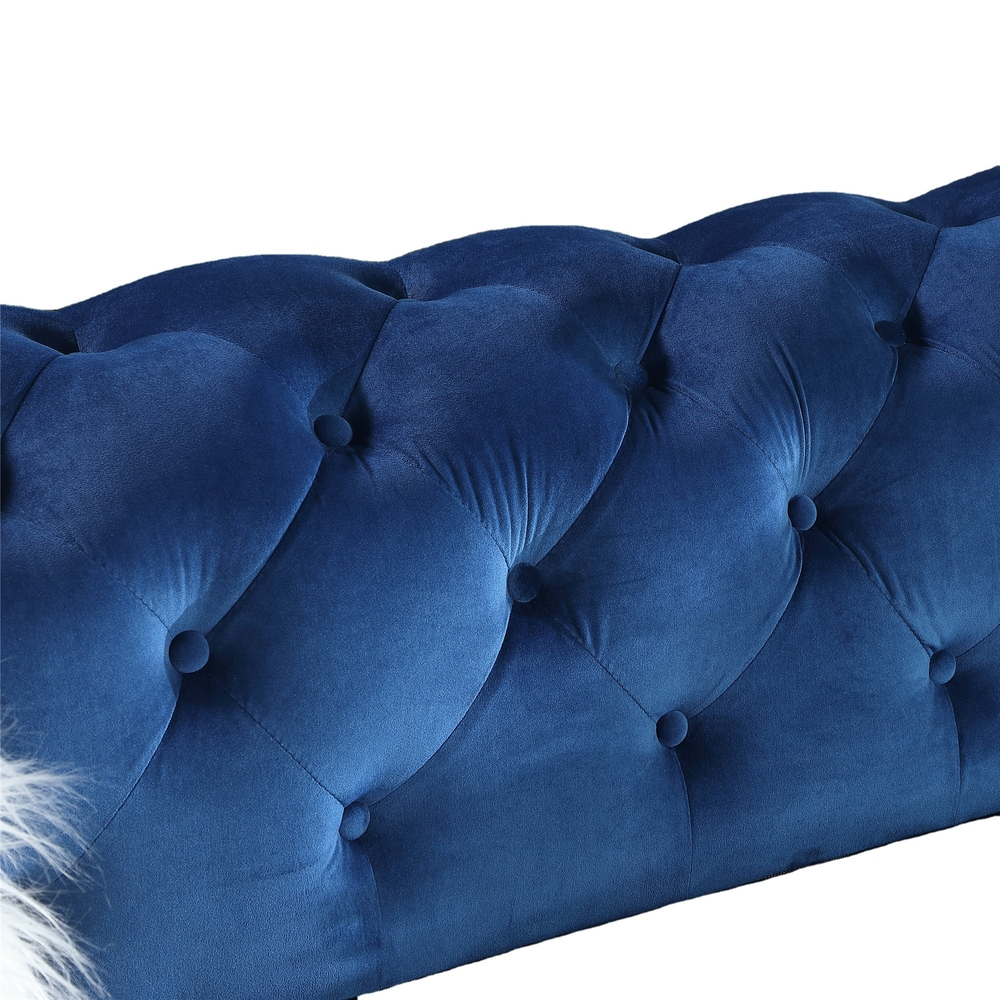 2021 newest Living room Classiceuropean blue fabric chesterfield stylish
