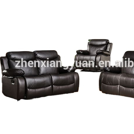 Home furniture Reclining Sofas with Drop Down Console Faux Leather Brown